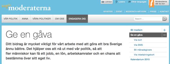 Skärmdump från moderaternas hemsida